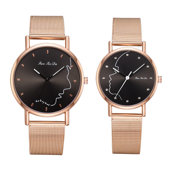 2Pcs Face Round Dial Analog Mesh Band Couple Watch Set 1