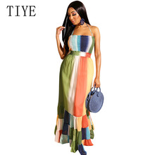 TIYE Women Summer Dress Vintage Boho Long Maxi Sexy Off Shoulder Sleeveless Party Beach Print Bohemian Loose Dresses