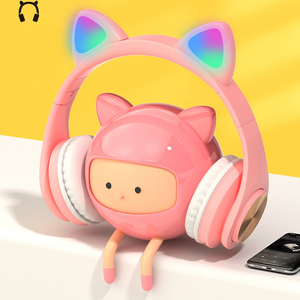 NEW LED Cat Ear Wireless Headphones Metallic feel Earmuffs Headset Bluetooth 5.0 Kids Headset Support TF Card With Microphones