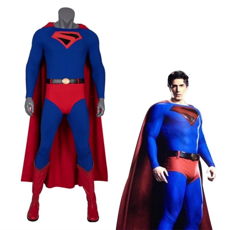 Superman Returns again 2020 Cosplay Costume Carnival Halloween Outfit Superhero Clark Kent Jumpsuit Boots Custom Made