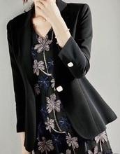 Office Ladies Single Button Suit Women Acetate Fashion Elegance Work Black Apricot Blazer For Spring Autumn Winter