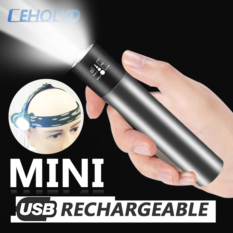 2 In 1 Power Bank Rechargeable Built In 18650 Battery XM-L T6 LED Flashlight Torch 3 Modes Switch Zoom Lens