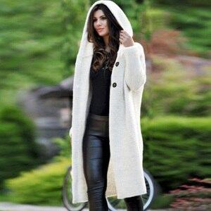 Image 2 - Длинный женский кардиган, свитер больших размеров, однотонное женское трикотажное пальто с капюшоном на плоской подошве, женский кардиган