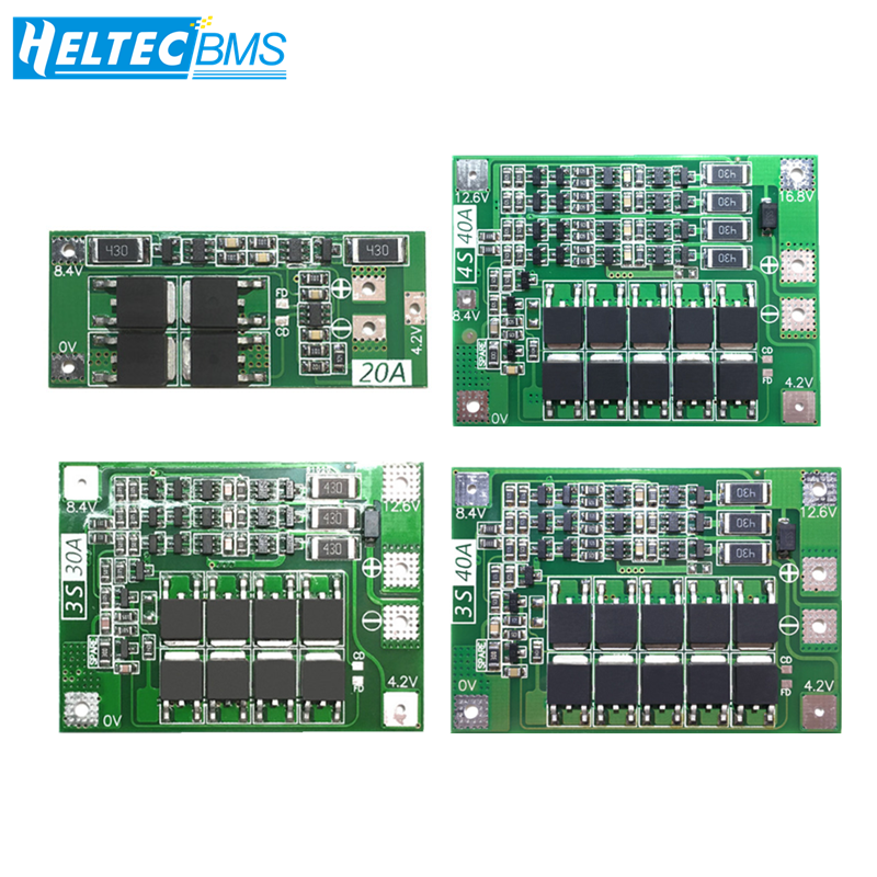2S/3S/4S 20A 30A 40A 60A BMS With Balance 18650 BMS Lifepo4 Lithium battery protection board/BMS board For Drill Motor|Battery Accessories| |  - title=