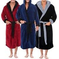 Albornoz tipo Kimono para hombre, bata de lana Coral, lencería íntima con cuello en V, color sólido, para Otoño e Invierno