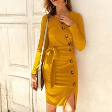 Women bodycon sweater dress Fall female sexy v-neck belt yellow midi dresses casual vintage elegant button basic knitted vestido