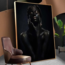 Black Nude African Woman with Golden Finger and Lips Canvas Painting on The Wall Makeup Art Pictures for Home Decor
