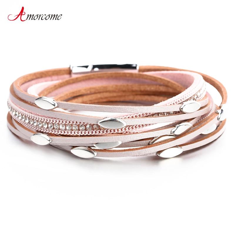 Amorcome Leather Bracelets For Women Bracelets & Bangles Leaf Charm Boho Multi Layers Wrap Bracelet Femme Jewelry Gift(China)