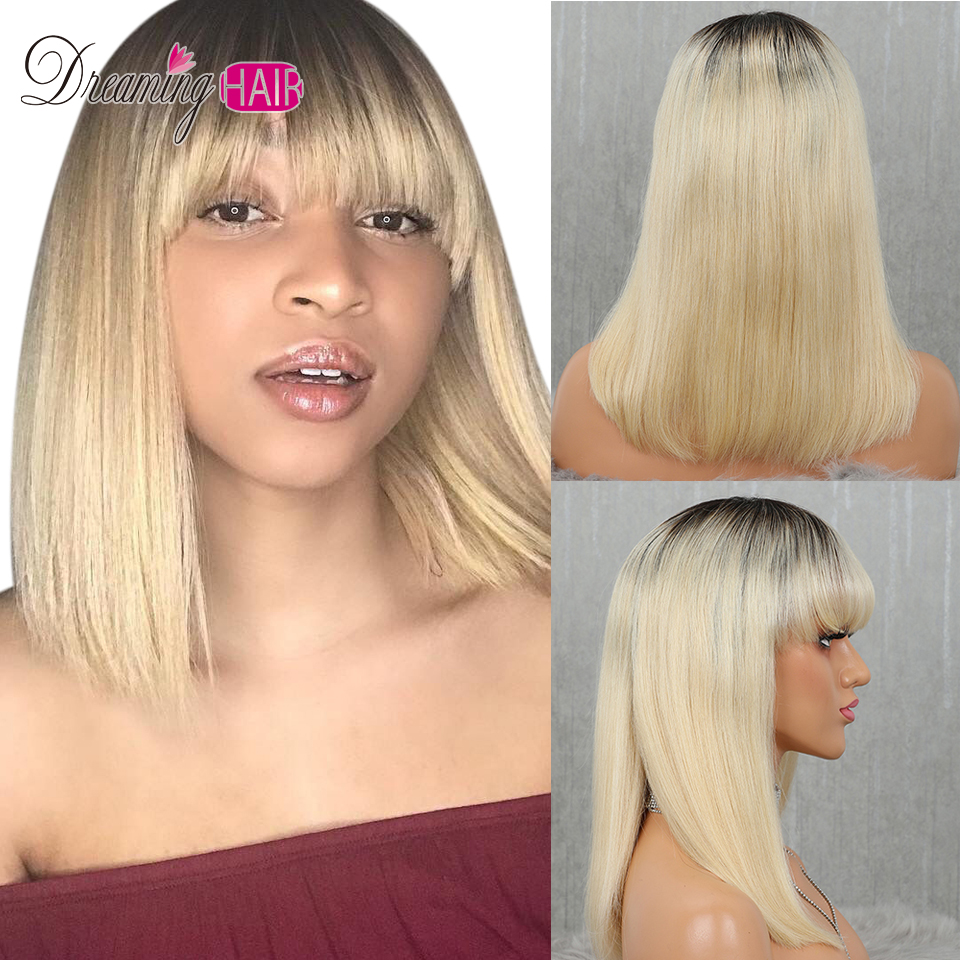613 Short Cut 13X4 Bob Lace Front Human Hair Wig with Bangs Honey Blonde Color Transparent 613 Short Cut 13X4 Bob Lace Front Human Hair Wig with Bangs Honey Blonde Color Transparent Lace Front Wigs For White Woman