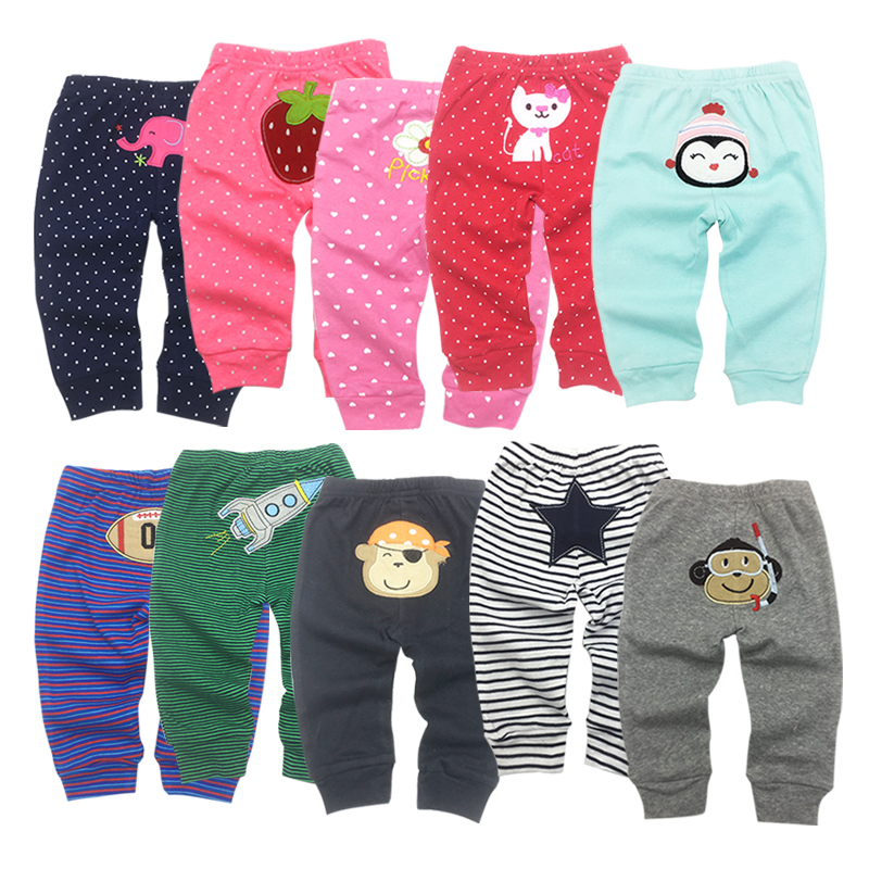 5 Pcs/set Baby Pants 0-24 Months Bebe Pant 5 Pcs Embroidery Cuff Style Pant Children Colorful And Cute Wear