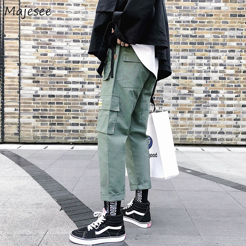 Pants Men Pockets Leisure Simple All-match Korean Style Daily Trendy Solid Cargo Pant Mens Trendy Harajuku Straight Trousers