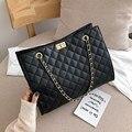 Черные большие сумки-шопперы для женщин сумка на цепочке через плечо ромбовидная решетка сумка женская большая кожаная клетчатые сумки для...