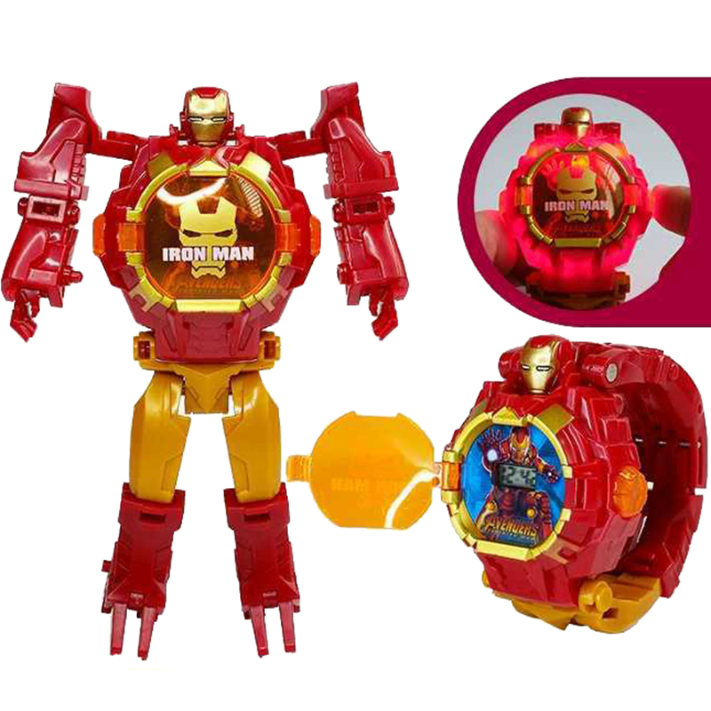Marvel Iron Man Spiderman Hulk Watch Assembled Luminous Toy Table Deformed Robot 3d Model Children 5-10 Years Gift