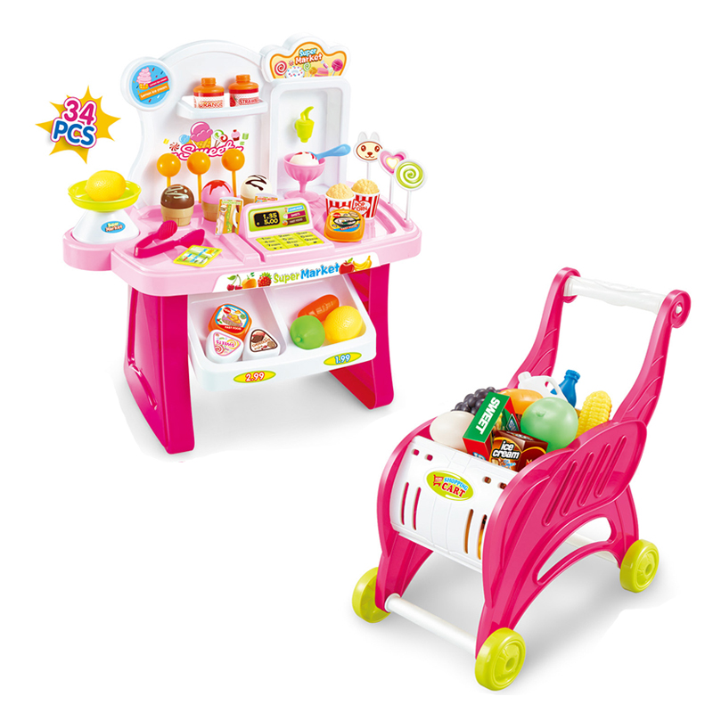 688-24-39-41 Baby Supermarket Cash Register Toy Girl Play Every House Simulation Children Card Machine Set Candy Ice Cream