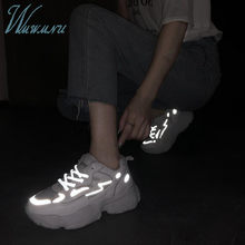 Fashion Women Luxury Reflective Sneakers Ulzzang Dad Shoes Winter Warm Thick Plush Mesh Lace-up Black White Tennis Basket Shoes(China)