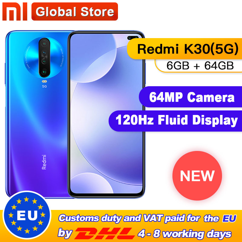 """Original Xiaomi Redmi K30 5G 6GB 64GB Snapdragon 765G Octa Core Smartphone 6.67"""" 64MP Quad Rear Camera 4500mAh"""