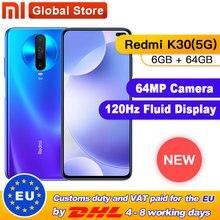 """Original Xiaomi Redmi K30 5G 6GB 64GB Snapdragon 765G Octa Core Smartphone 6,67 """"64MP Quad hinten Kamera 4500mAh"""