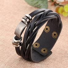 Кожаный браслет мужской тканый многослойный ручной работы ювелирные