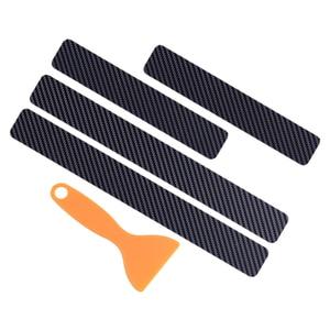 Image 2 - DWCX 4pcs 유니버설 블랙 탄소 섬유 스타일 문턱 문턱 환영 페달 플레이트 스커프 커버 안티 스크래치 보호기 스티커