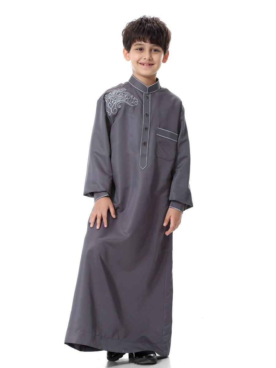 Turkish Muslim Kids Abaya Jubba Thobe Kimono Boy Thobe Thawb Caftan for Children Long Robes Dress Dubai Arab Islamic Clothing