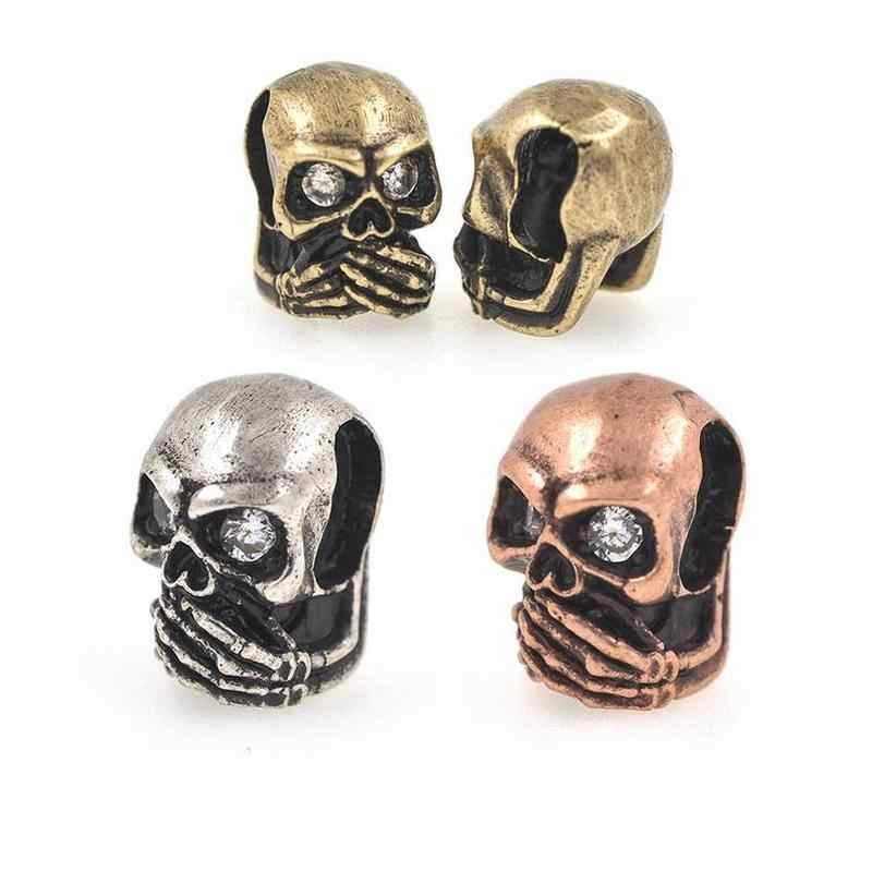 Antique Skull Bead for Paracord Bracelet,Metal Pave CZ Leather Bangle Charms Beads Jewelry Supplies 8x12mm