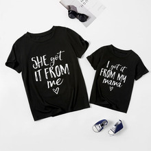 Letter  Print Family T Shirt Summer Short Sleeve Mother Daughter T-shirts Family Look Tops Tees Family Matching Outfits Clothes summer family look clothes boy t shirts mother