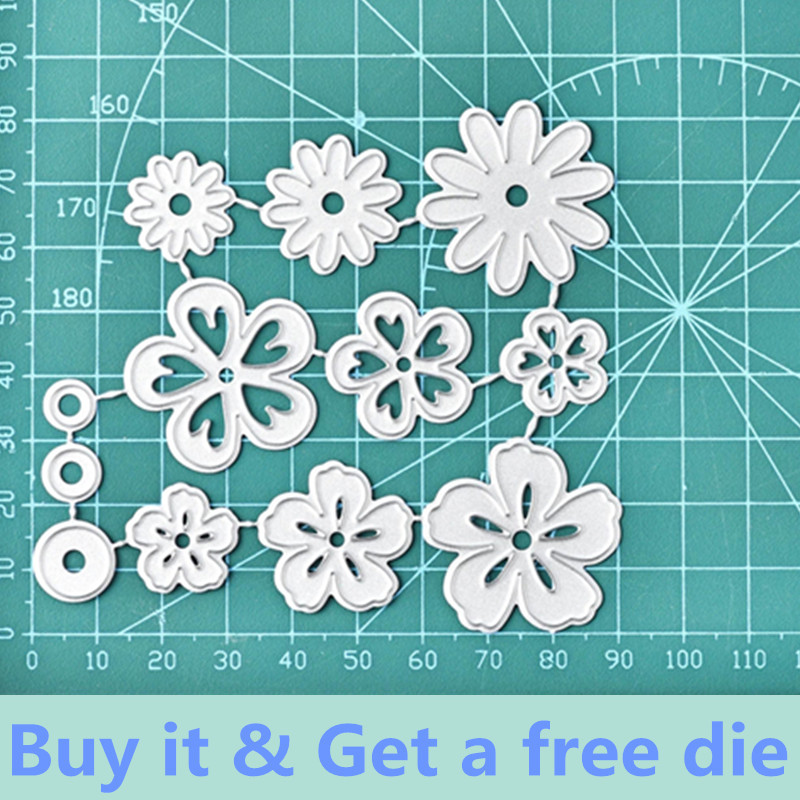 Eastshape 12Pcs Flowers Metal Cutting Dies Daisy DIY Etched Dies Craft Paper Card Making Scrapbooking Embossing New 2019
