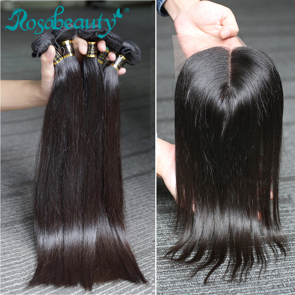 Rosabeauty 28 30 32 Inch Peruvian Hair Bundles Straight 3 4 Bundles With Lace Closure Remy Human Hair And Closure