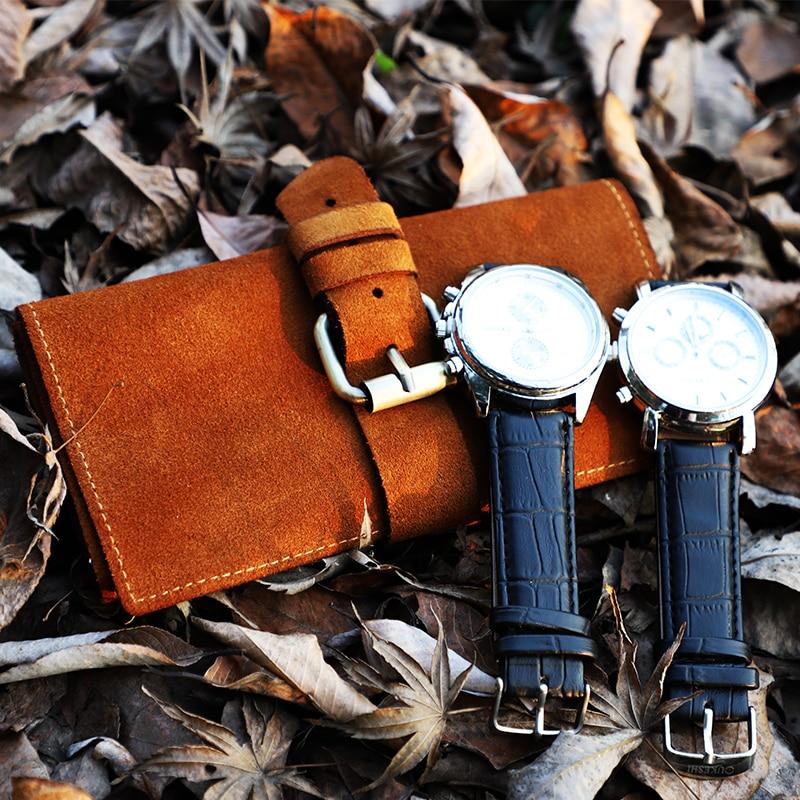Portable 4 Slots Soft Cow Suede Leather Watch Roll Vintage Brown Travel Watch Organizer Case Box Zipper Watch Bag Pouch Storage