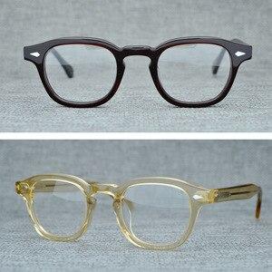 Image 2 - Handmade Lemtosh Johnny Depp Glasses Optical Glasses Frame Men Women Luxury Brand Acetate Frame Vintage Eyeglasses Logo Z082
