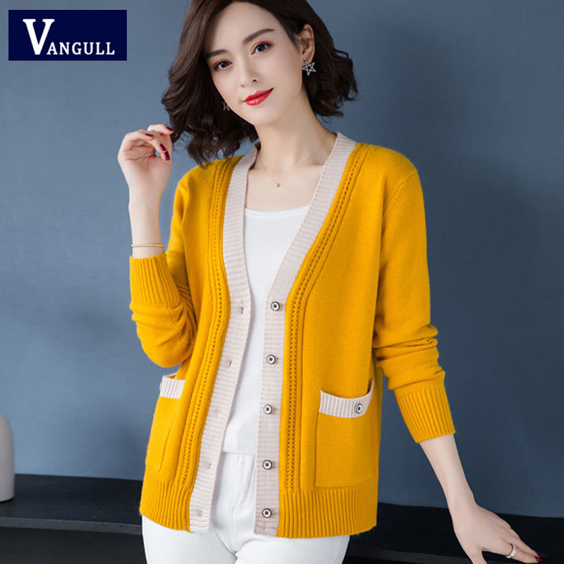 Vangull Knitted Cardigan Sweater Women Spring Autumn Simple Solid Straight Bottom Clothing Button Sweater Fashion New Cardigan