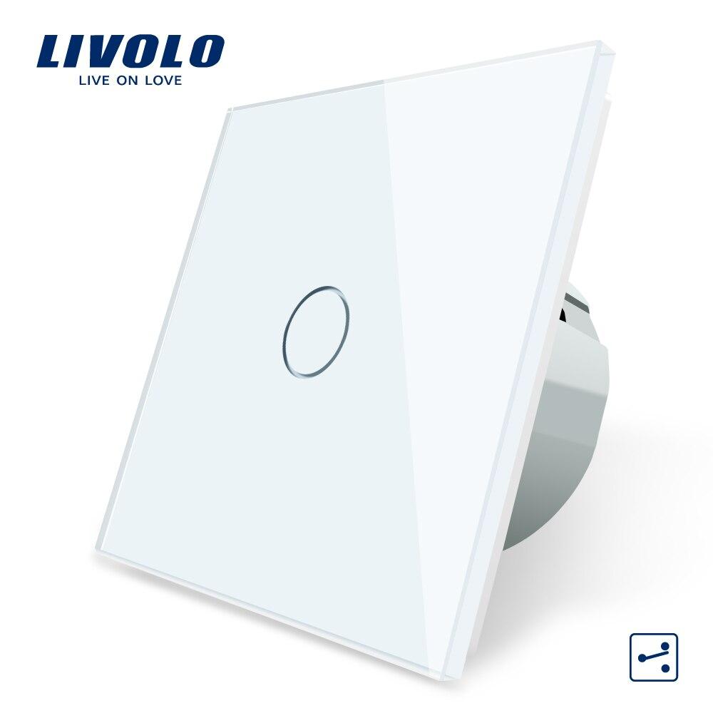 Livolo padrão da ue interruptor de controle do tela táctil da parede de 2 vias, painel de vidro de cristal, 220-250 v, interruptor transversal, passe através do controle