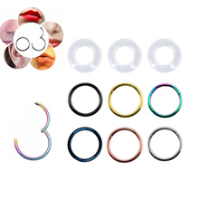 1PC/26pcs G23 Titanium Hinged Segment Nose Ring  Nipple Clicker Ear Cartilage Tragus Helix Lip Piercing Unisex Fashion Jewelry