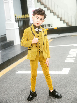 Boys Suits Blazer Formal Coat Slim Fit For Wedding Party Piano Toddler Clothes Yellow Kids Suits