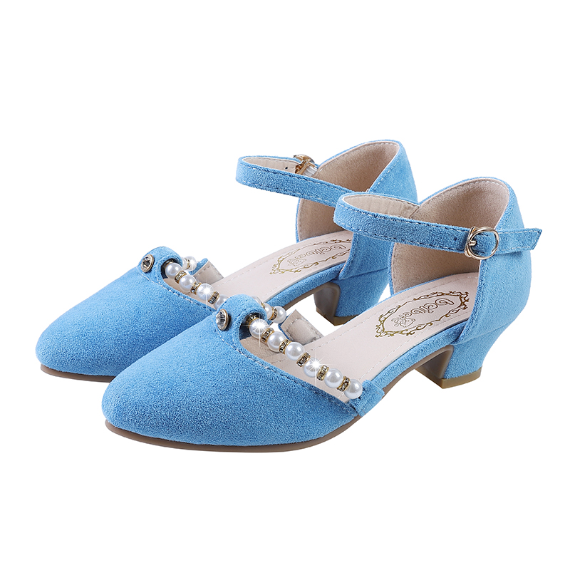 New Summer Sandals For Girls Baby Bow Sandals With High-heeled Toddler Children Diamond Single Dress Shoes Pink Peacock Blue