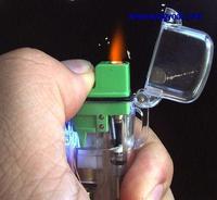 Tüketici Elektroniği'ten Pil Aksesuarları ve Şarj Aksesuarları'de DHL/EMS 50 adet Yeşil Metal Şişme Gaz alev ÇAKMAK ŞEKILLI PURO SIGARA Alev LIGHTERS A8