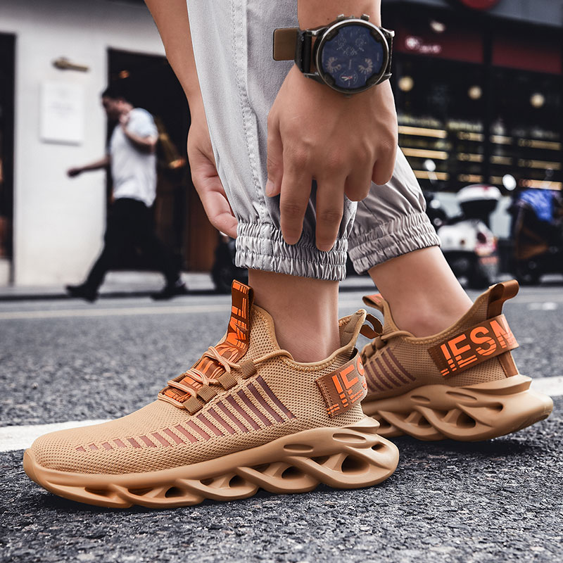 Rommedal men lightweight blade running shoes shockproof lack up breathable male sneakers height increase walking Gym shoes man 4