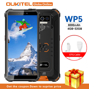 OUKITEL WP5 IP68 Waterproof Smartphone 8000mAh Android 10.0 Triple Camera Face/Fingerprint ID 5.5 inches 4GB 32GB Mobile Phones(China)