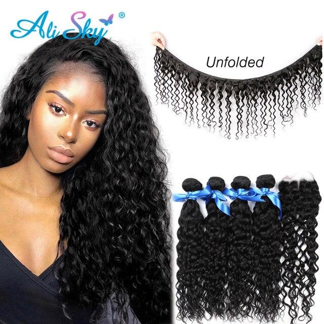 Alisky מלזי מים גל שיער 4 חבילות עם סגירת 100% שיער טבעי סגירת יד קשורה רמי שיער התיכון/משלוח/שלושה חלק גבוהה
