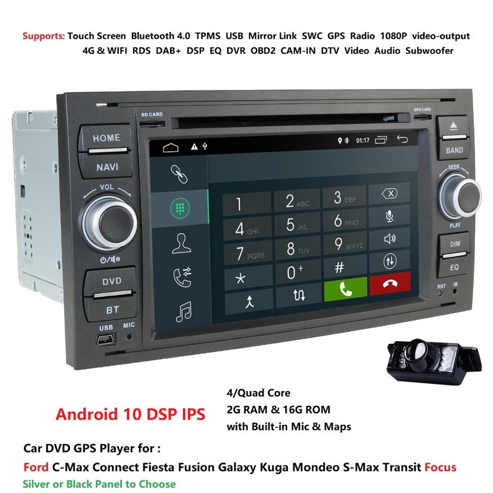 Quad Core Android 10 Car Audio <font><b>GPS</b></font> FOR FORDFOCUS <font><b>C</b></font>-<font><b>MAX</b></font> Car DVD Player 1024*600 7'' IPS Touch Screen 2Din Car Multimedia RDS DSP image