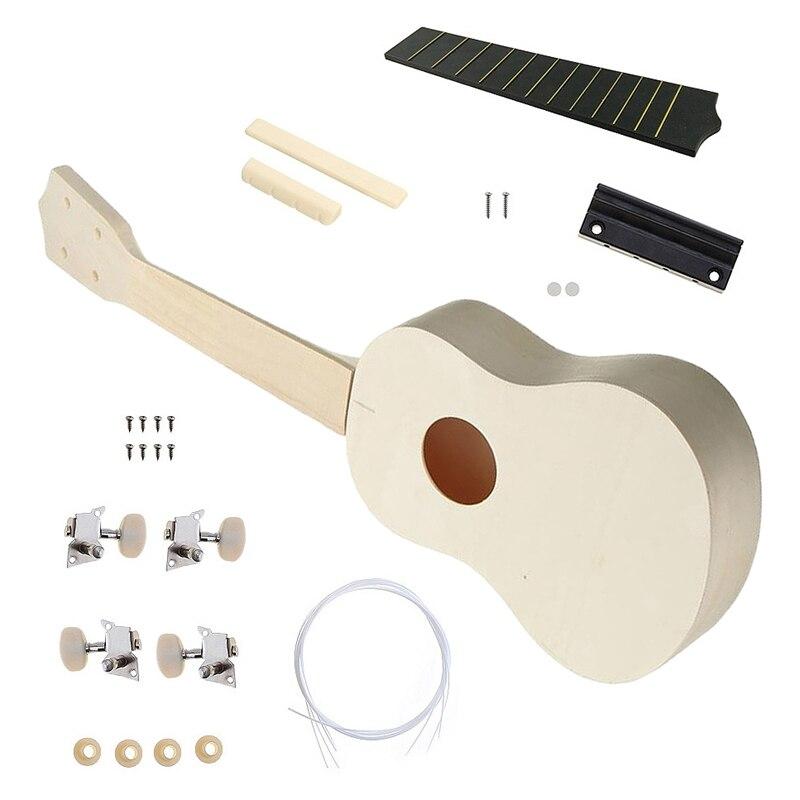 Kids Soprano Ukulele Diy Kit 21 Inch Basswood 4 Strings Hawaiian Guitar For Handwork Painting Perfect Child Campaign