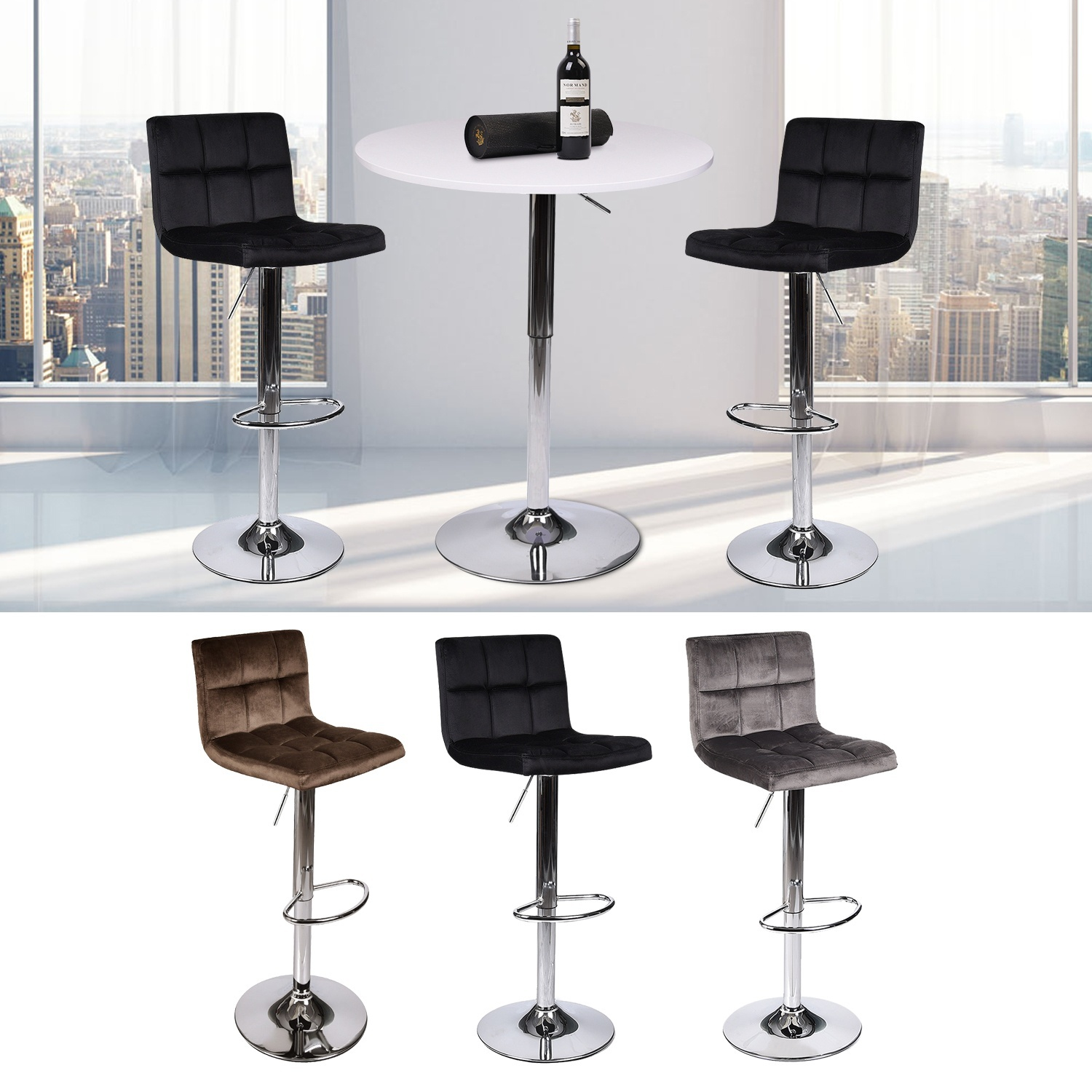 3 Piece Bar Table Set With 2 Velet Swivel Stools Height Adjustable Bistro Pub Kitchen Dining Chairs Furniture