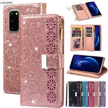 Bling Glitter Case For Samsung Galaxy S20 Plus S9 S8 S7Edge S10 Note 20 10 Plus 8 9 Zipper Wallet Leather Flip Stand Cover Coque
