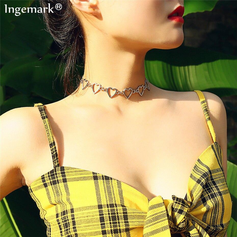 Ingemark coreano doce amor coração gargantilha colar declaração namorada presente bonito prata cor colar jóias collier femme 2020