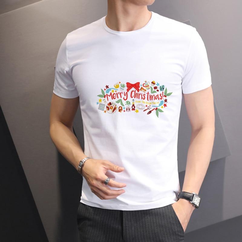Los hombres de Feliz Año Nuevo de Lus camiseta de moda letras impresas Feliz Navidad ropa de hombre Harajuku Camiseta de manga corta