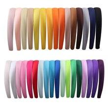 1pc 15/20mm doce cetim coberto hairband resina para meninas sólido elástico cetim acessórios de cabelo diy hoop hairbands