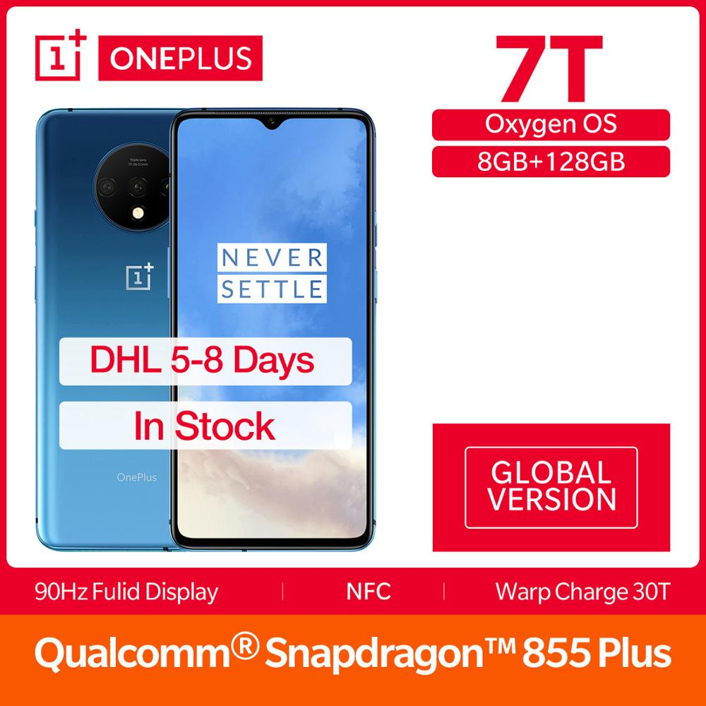 Global Version OnePlus 7T 8GB 128GB Smartphone Snapdragon 855 Plus Octa Core 90Hz AMOLED Screen 48MP Triple Cameras UFS 3.0 NFC
