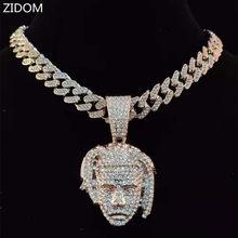 Uomo donna Hip Hop XXXtentacion collana con ciondolo con catena cubana Miami 13mm ghiacciata Bling HipHop collane gioielli di moda