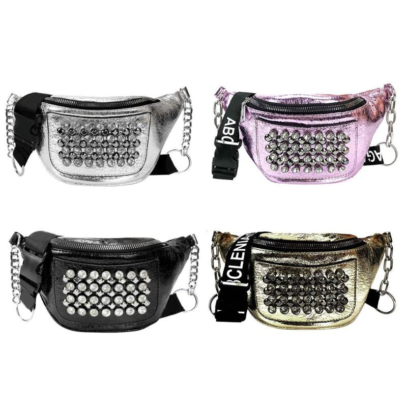 Street Rhinestones Rivets Women Fanny Shoulder Bags Phone Purse Waist Packs