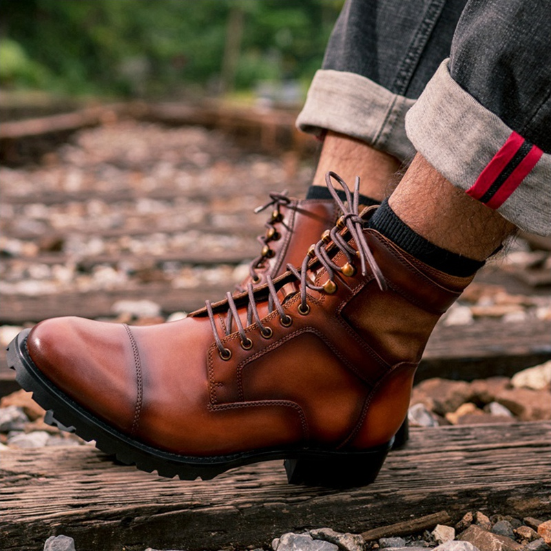 High Quality Man Handmade Laces Cap Toe Military Shoes Genuine Leather Round Toe Heels Men's Desert Riding Ankle Boots NHS277 - 2